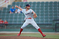 Lakewood BlueClaws relief pitcher Andrew Schultz (23) in action against the Kannapolis Intimidators at Kannapolis Intimidators Stadium on July 18, 2019 in Kannapolis, North Carolina. The Intimidators defeated the BlueClaws 7-1. (Brian Westerholt/Four Seam Images)
