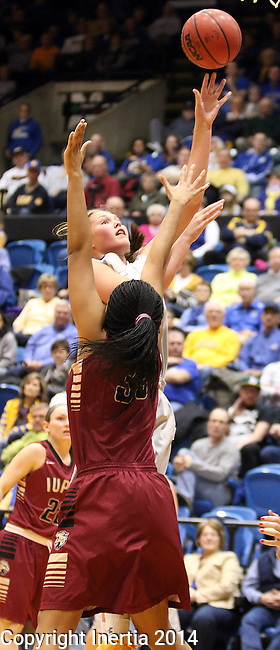BROOKINGS, SD - JANUARY 9:  Clarissa Ober #21 from South Dakota State University shoots over Mikale Rogers #33 from IUPUI in the first half of their game Thursday night at Frost Arena in Brookings. (Photo by Dave Eggen/Inertia)