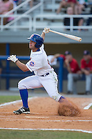 Kevin Kaczmarski (36) of the Kingsport Mets follows through on his swing against the Elizabethton Twins at Hunter Wright Stadium on July 9, 2015 in Kingsport, Tennessee.  The Twins defeated the Mets 9-7 in 11 innings. (Brian Westerholt/Four Seam Images)
