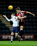 Callum Semple of Sheffield United under 18's wins a header during the FA Youth Cup 3rd Round match at Deepdale Stadium, Preston. Picture date: November 30th, 2016. Pic Matt McNulty/Sportimage