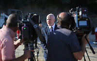 FAO JANET TOMLINSON, DAILY MAIL PICTURE DESK<br /> Pictured: Jon Cousins of South Yorkshire Police briefs members of the press where special forensics police officers search a field in Kos, Greece. Saturday 01 October 2016<br /> Re: Police teams led by South Yorkshire Police, searching for missing toddler Ben Needham on the Greek island of Kos have moved to a new area in the field they are searching.<br /> Ben, from Sheffield, was 21 months old when he disappeared on 24 July 1991 during a family holiday.<br /> Digging has begun at a new site after a fresh line of inquiry suggested he could have been crushed by a digger.