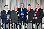 Stephen O'Sullivan Gneeveguilla GAA chairman presented three Outstanding contribution awards at their social in the Killarney Heights Hotel on Saturday night l-r: Donal O'Connor, Diarmuid O Sé, Dan Joe O'Sullivan, Stephen O'Sullivan and Patsy Herlihy