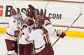 Makenna Newkirk (BC - 19), Alex Carpenter (BC - 5), Haley Skarupa (BC - 22), Kali Flanagan (BC - 10) - The Boston College Eagles defeated the Northeastern University Huskies 5-1 (EN) in their NCAA Quarterfinal on Saturday, March 12, 2016, at Kelley Rink in Conte Forum in Boston, Massachusetts.