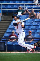 Binghamton Rumble Ponies third baseman David Thompson (8) follows through on a swing during a game against the Hartford Yard Goats on July 9, 2017 at NYSEG Stadium in Binghamton, New York.  Hartford defeated Binghamton 7-3.  (Mike Janes/Four Seam Images)