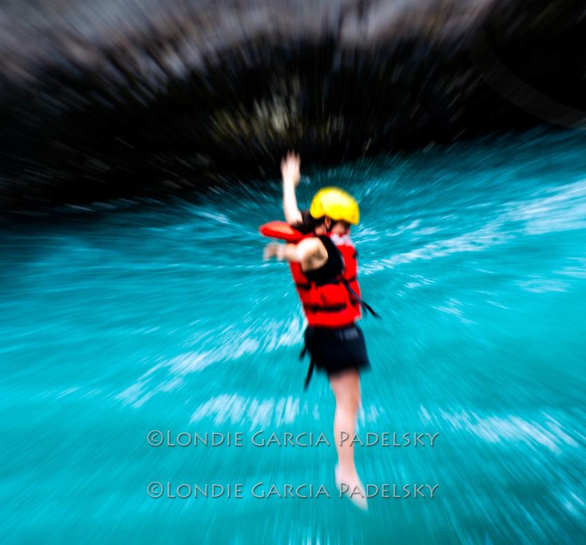 Zip Line at Cave Camp, Futalefu River, Los Lagos Region, Patagonia, Chile, South America