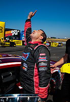 Jul 28, 2019; Sonoma, CA, USA; NHRA pro stock driver Greg Anderson celebrates after winning the Sonoma Nationals at Sonoma Raceway. Mandatory Credit: Mark J. Rebilas-USA TODAY Sports