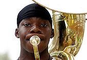 Mashon Jackson plays the tuba during Trenton Central High School band camp on Tuesday   August 24, 2004. photo by jane therese....