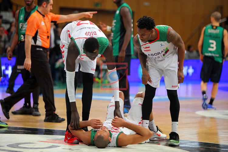 League ACB-Endesa 2015-2016. Game: 16.<br /> FIATC Joventut vs Laboral Kutxa Baskonia: 68-89.<br /> Diop, Hanga &amp; Adams.