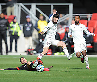 WASHINTON, DC - FEBRUARY 29: Washington, D.C. - February 29, 2020: Joseph Mora #28 of D.C. United battles the ball with Jack Price #19 of the Colorado Rapids. The Colorado Rapids defeated D.C. United 2-1 during their Major League Soccer (MLS)  match at Audi Field during a game between Colorado Rapids and D.C. United at Audi FIeld on February 29, 2020 in Washinton, DC.