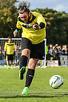 London, UK on Sunday 31st August, 2014. James Arthur shoots during the Soccer Six charity celebrity football tournament at Mile End Stadium, London.