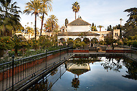 Detail of pool, Gardens, Real Alcazar, Seville, Spain, pictured on December 26, 2006, in the afternoon. The Real Alacazar was commissioned by Pedro I of Castile in 1364 to be built in the Mudejar style by Moorish craftsmen. The palace, built on the site of an earlier Moorish palace, is a stunning example of the style and a UNESCO World Heritage site. The gardens are a mixture of French, Moorish and Renaissance style. Here a pavilion is reflected in a pool. Picture by Manuel Cohen.