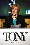 Heather Hitchens (Executive Director, The American Theatre Wing)  announces the 2013 Tony Award Nominations at The New York Public Library for Performing Arts in New York on 4/30/2013...