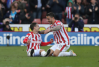 Stoke City's Bojan celebrates with Joselu during the Barclays Premier League match between Stoke City and Swansea City played at Britannia Stadium, Stoke on April 2nd 2016