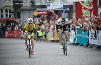 Sep Vanmarcke (BEL/LottoNL-Jumbo) & local partner cheered on in his duo-TT lap around the course<br /> <br /> Post-Tour Criterium Mechelen (Belgium) 2016