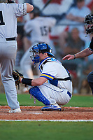 South Dakota State Jackrabbits catcher Ian Cote (4) during a game against the Northeastern Huskies on February 23, 2019 at North Charlotte Regional Park in Port Charlotte, Florida.  Northeastern defeated South Dakota State 12-9.  (Mike Janes/Four Seam Images)