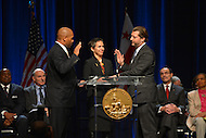 January 2, 2013  (Washington, DC)  Newly elected D.C. councilmember David Grosso (I-At Large) (right) is sworn-in during a ceremony at the Washington Convention Center, January 3, 2013.  (Photo by Don Baxter/Media Images International)