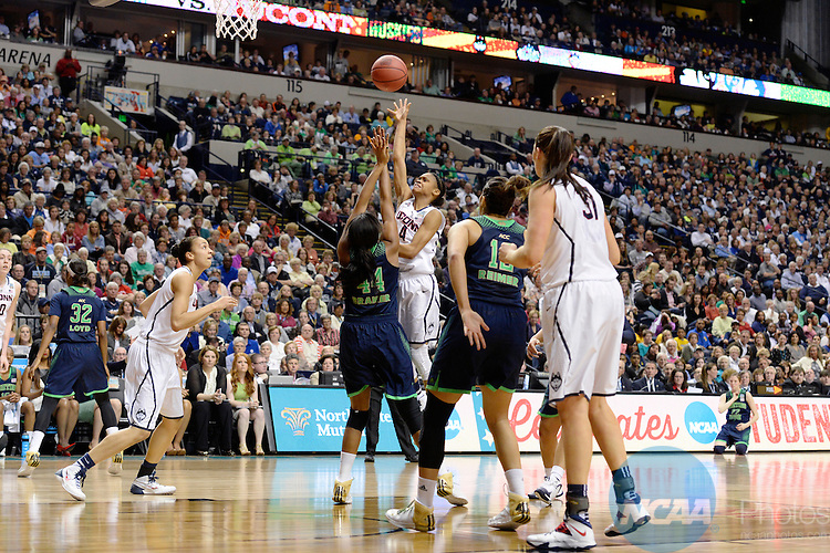 08 APR 2014:  Moriah Jefferson (04) of the University of Connecticut shoots over Ariel Braker (44) of Notre Dame University during the Division I Women's Basketball Championship held at Bridgestone Arena in Nashville, TN.  Connecticut defeated Notre Dame 78-63 for the national title.  Jamie Schwaberow/NCAA Photos