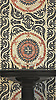 Suzani design mosaic bath wall in Obsidian, Agate, and Garnet Glass