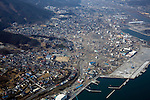 March 13, 2011, Ofunato, Japan - A big chunk of the town of Ofunato, Iwate prefecture, disappears on Sunday, March 13, 2011,  two days after the seaside town was hit by a 10-meter tsunami following a powerful earthquake with a magnitude 9.0 that jolted Japan's northeastern prefectures, wreaking havoc on otherwise beautiful coastal towns and farmlands. The death toll from the nation's worst and the world's fourth worst quake could rise above 10,000. (Photo by Yoichi Tsukioka/AFLO) [2570] -mis-