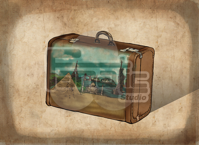 Illustrative image of suitcase representing travel destinations