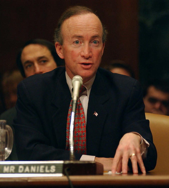 2/5/03.FY 2004 BUDGET--Mitchell E. Daniels Jr., director of the Office of Management and Budget, during the Senate Budget hearing on the Bush administration's FY 2004 budget proposal. .CONGRESSIONAL QUARTERLY PHOTO BY SCOTT J. FERRELL