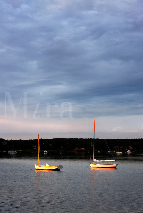 Sunrise sailboats, the Lagoon, Tisbury, Martha's Vineyard, Massachusetts, USA