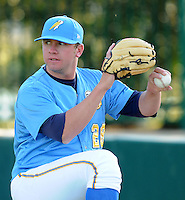April 10, 2009: LHP Tyler Wilson (28) of the Myrtle Beach Pelicans, Class A affiliate of the Atlanta Braves, in a game against the Wilmington Blue Rocks at BB&T Coastal Field in Myrtle Beach, S.C. Photo by:  Tom Priddy/Four Seam Images