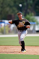 Pittsburgh Pirates third baseman Emilson Rosado (22) throws to first base during a Florida Instructional League game against the Toronto Blue Jays on September 20, 2018 at the Englebert Complex in Dunedin, Florida.  (Mike Janes/Four Seam Images)