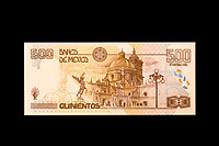 Mexico, North America.  500 Pesos Banknote, back side.  Church of Puebla.