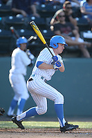 Brett Stephens (23) of the UCLA Bruins bats during a game against the Hofstra Pride at Jackie Robinson Stadium on March 14, 2015 in Los Angeles, California. UCLA defeated Hofstra, 18-1. (Larry Goren/Four Seam Images)