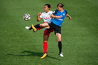 Kansas City, MO - Saturday September 9, 2017: Yuki Nagasato, Becca Moros during a regular season National Women's Soccer League (NWSL) match between FC Kansas City and the Chicago Red Stars at Children's Mercy Victory Field.