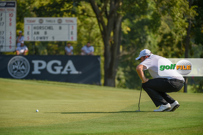 Shane Lowry (IRL) lines up his putt on 9 during 2nd round of the 100th PGA Championship at Bellerive Country Club, St. Louis, Missouri. 8/11/2018.<br /> Picture: Golffile | Ken Murray<br /> <br /> All photo usage must carry mandatory copyright credit (© Golffile | Ken Murray)