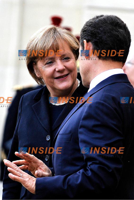 Angela MERKEL cancelliere tedesco e Nicolas SARKOZY Presidente francese.Parigi 5/12/2011 Parigi Eliseo.Pranzo di Lavoro.Foto Insidefoto / Gerard Roussel / PANORAMIC