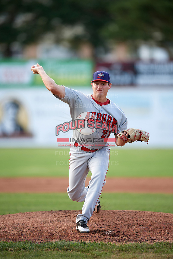 Auburn Doubledays starting pitcher Matthew DeRosier (21) delivers a warmup pitch during a game against the Batavia Muckdogs on June 19, 2017 at Dwyer Stadium in Batavia, New York.  Batavia defeated Auburn 8-2 in both teams opening game of the season.  (Mike Janes/Four Seam Images)