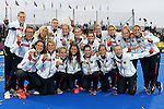 ENG - London, England, August 30: Team of Germany celebrates their bronze medal after winning the bronze medal match against Spain (5-1) on August 30, 2015 at Lee Valley Hockey and Tennis Centre, Queen Elizabeth Olympic Park in London, England.  (Photo by Dirk Markgraf / www.265-images.com) *** Local caption ***