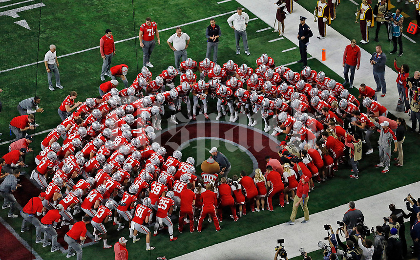 Ohio State Buckeyes before their game against USC Trojans at the 82nd Goodyear Cotton Bowl Classic at AT&T Stadium in Arlington, Texas on December 29, 2017.  [Kyle Robertson/Dispatch]