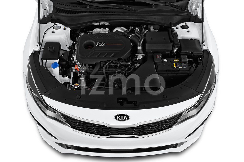 Car stock 2019 KIA Optima SX-Turbo 4 Door Sedan engine high angle detail view