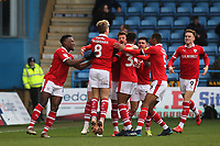 Barnsley players congratulate Kieffer Moore after scoring their opening goal during Gillingham vs Barnsley, Sky Bet EFL League 1 Football at The Medway Priestfield Stadium on 9th February 2019