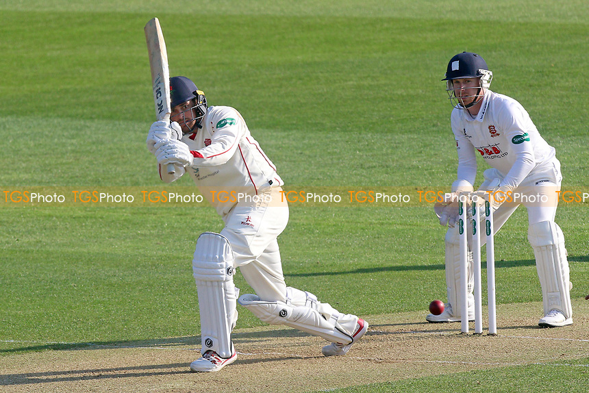 Stephen Parry in batting action for Lancashire as Adam Wheater looks on from behind the stumps during Essex CCC vs Lancashire CCC, Specsavers County Championship Division 1 Cricket at The Cloudfm County Ground on 7th April 2017