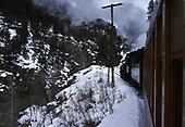 The D&amp;SNG Cascade Canyon winter train climbing alongside the Animas River.<br /> D&amp;S  Animas Canyon, CO