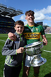17-1-2017: Four goal hero, Team Captain and Man of the Match, David Clifford from Fossa Killarney and Micheal Keane with the Tommy Markem Cup following Kerry's four-in-a-row All-Ireland titles  at Croke Park on Sunday.<br /> Photo: Don MacMonagle