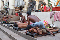 Famous Oil Massage at Babu Ghat, Kolkata, India