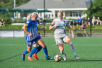 Boston, MA - Saturday June 24, 2017: Adriana Leon and Makenzy Doniak during a regular season National Women's Soccer League (NWSL) match between the Boston Breakers and the North Carolina Courage at Jordan Field.