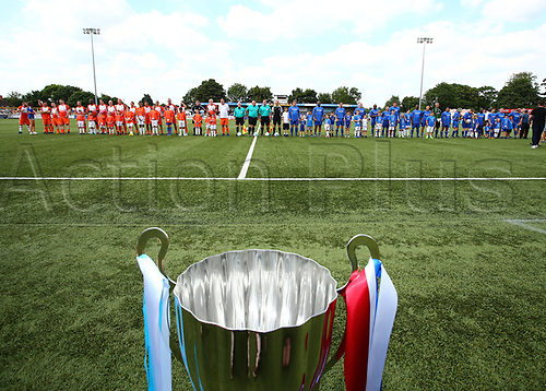 June 17th 2017, Gander Green Lane, Sutton, England; Football Charity Match; Chelsea Legends versus Rangers Legends; Teams line up before kick off