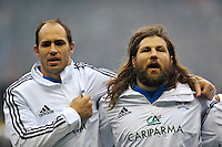 Sergio Parisse and Martin Castrogiovanni sing the Italian national anthem prior to the match. RBS Six Nations match between England and Italy on March 10, 2013 at Twickenham Stadium in London, England. Photo by: Patrick Khachfe / Onside Images