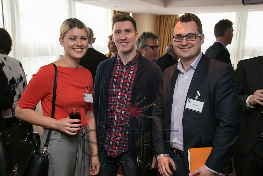 From left are Claire Russell of Hosta Consulting, Ross Davies of Strafe Creative and Nic Elliott of Actons