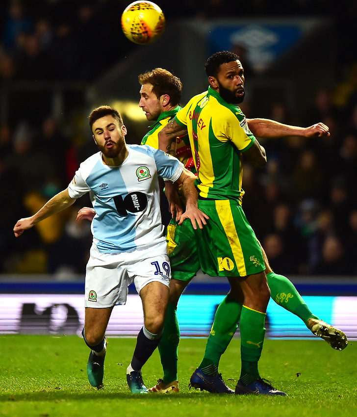 Blackburn Rovers' Ben Brereton competes with West Bromwich Albion's Kyle Bartley<br /> <br /> Photographer Richard Martin-Roberts/CameraSport<br /> <br /> The EFL Sky Bet Championship - Blackburn Rovers v West Bromwich Albion - Tuesday 1st January 2019 - Ewood Park - Blackburn<br /> <br /> World Copyright © 2019 CameraSport. All rights reserved. 43 Linden Ave. Countesthorpe. Leicester. England. LE8 5PG - Tel: +44 (0) 116 277 4147 - admin@camerasport.com - www.camerasport.com
