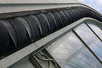 Tropical Rainforest Glasshouse (formerly Le Jardin d'Hiver or Winter Gardens), 1936, René Berger, Jardin des Plantes, Museum National d'Histoire Naturelle, Paris, France. Detail of leaf shaped decoration around the Art Deco facade.