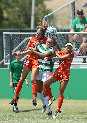 ARLINGTON, TX - AUGUST 25: Lindsey Hulstein #10 of the North Texas Mean Green - Houston Baptist vs North Texas Mean Green Soccer at Mean Green Village Soccer Field in Denton on August 25, 2013 in Denton, Texas. Photo by Rick Yeatts