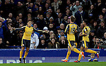Alexis Sanchez of Arsenal (l).celebrates scoring the first goal during the English Premier League match at Goodison Park Stadium, Liverpool. Picture date: December 13th, 2016. Pic Simon Bellis/Sportimage